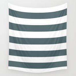 Stormcloud -  solid color - white stripes pattern Wall Tapestry