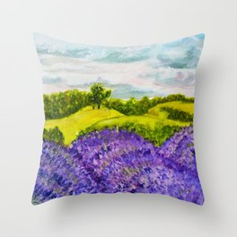 Lavender Fields Watercolor Throw Pillow