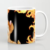 givenchy Mugs featuring Givenchy scarf with flame and bambi print by Le' + WK$amahoodT Boutique by Paynasa®