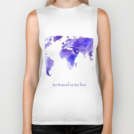 to travel is to live    watercolor map Biker Tank