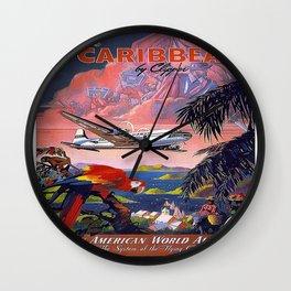 Vintage poster- Caribbean Wall Clock