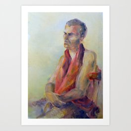 Oil painting, portrait of man in warm colors Art Print