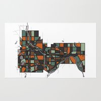 cities Area & Throw Rugs featuring Twin Cities by BigRedSharks