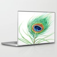 peacock feather Laptop & iPad Skins featuring Peacock Feather by Brazen Edwards