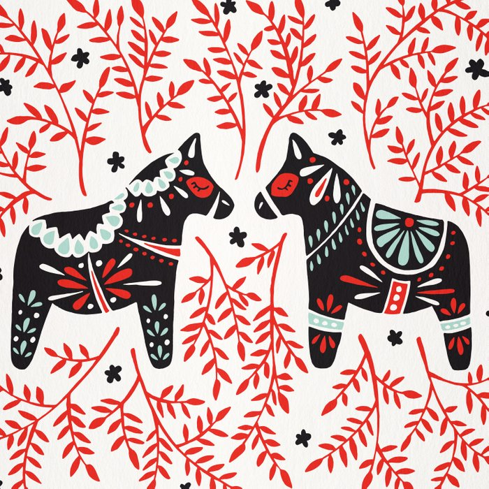 Swedish Dala Horses – Red and Black Palette Duvet Cover
