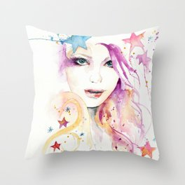 Galaxy Woman Throw Pillow