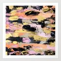 Modern abstract black pink salmon gold hand painted acrylic brushstrokes paint by girlytrend