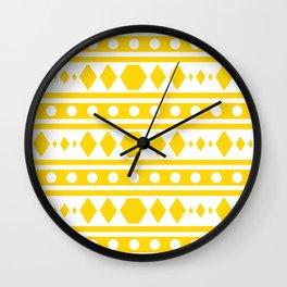 Tribal pattern Yellow Wall Clock