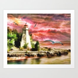 Lighthouse During Sunset Art Print