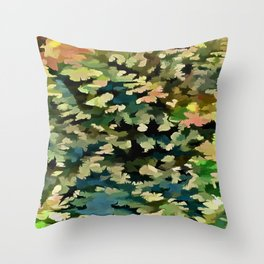 Foliage Abstract In Green, Peach and Phthalo Blue Throw Pillow