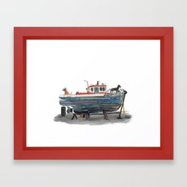 Dog Boat Framed Art Print