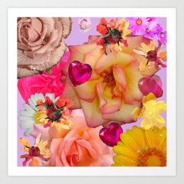 Abstract Hearts & Flowers Art Print
