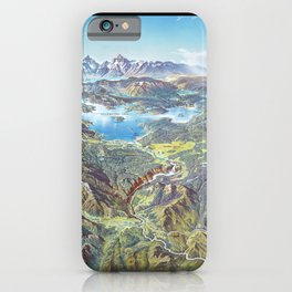 Heinrich Berann - Panoramic Painting Yellowstone National Park with labels (1991) iPhone Case