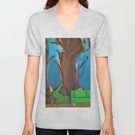 Fairy, Fairies. Abstract. Original Painting. Forest. Fantasy Forest. Fantasy. Jodilynpaintings. Unisex V-Neck