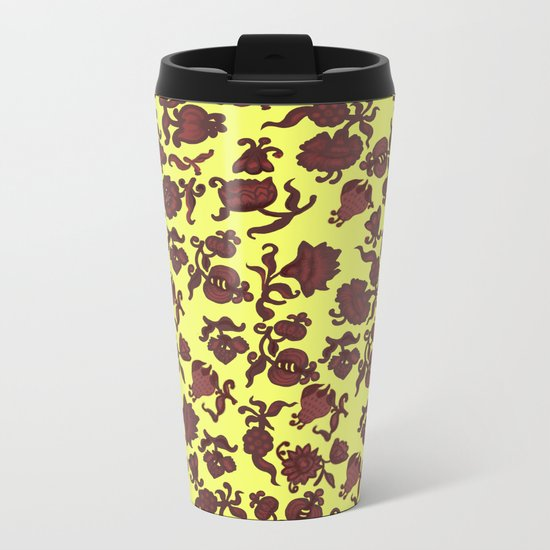 red flowers and foliage 5 Metal Travel Mug