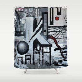 Graffiti On Gray Background Shower Curtain