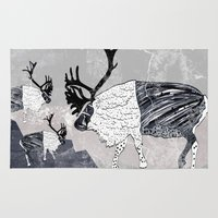 nordic Area & Throw Rugs featuring Nordic Reindeer by Pencil Studio