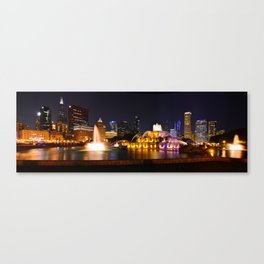 Chicago skyline and Buckingham Fountain at night. Canvas Print