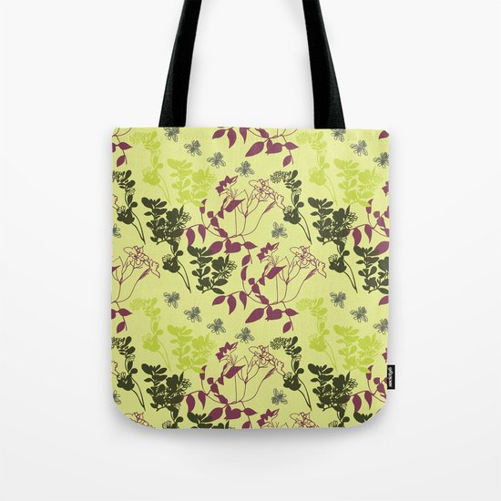 pattern with plants and bees Tote Bag