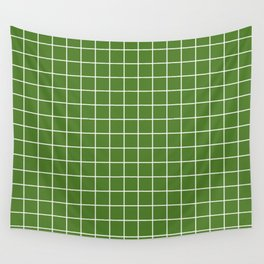 Sap green - green color - White Lines Grid Pattern Wall Tapestry