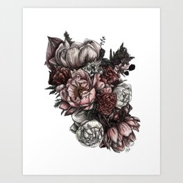 Rose Raspberry Bouquet - Color on white Art Print