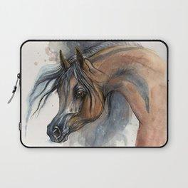 Arabian horse portrait watercolor art Laptop Sleeve