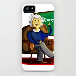 Einsten in his easy chair smoking a pipe quietly iPhone Case