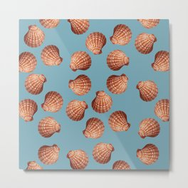 Light blue Big Clam pattern Illustration design Metal Print