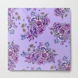 Vintage Purple Florals Metal Print