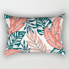 Abstract seamless tropical pattern with bright plants and leaves on a light background. Seamless exotic pattern with tropical plants. Summer colorful hawaiian seamless pattern with tropical plants. Rectangular Pillow