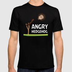Angry Hedgehog SMALL Black Mens Fitted Tee