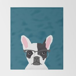Hadley  - French Bulldog wearing hipster glasses perfect for dog lovers and owners, dog people Throw Blanket