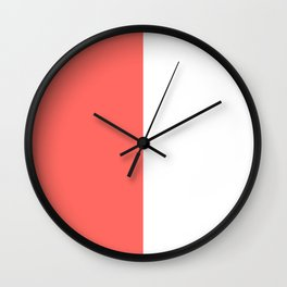 White and Pastel Red Vertical Halves Wall Clock