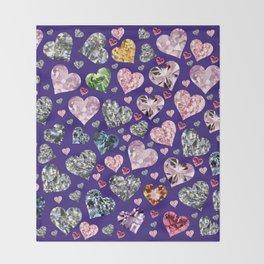 Heart Diamonds are Forever Love Violet Throw Blanket