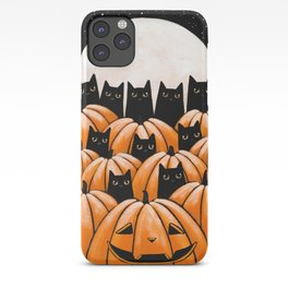 Black Cats in the Pumpkin Patch iPhone Case