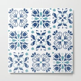 Blue Azulejos Flower Tiles Pattern Metal Print