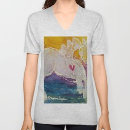pink golden heart horse pony watercolor by CheyAnne Sexton Unisex V-Neck