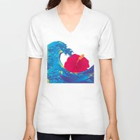 hokusai V-neck T-shirts featuring Hokusai Rainbow & Hibiscus_R  by FACTORIE