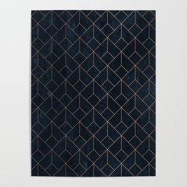 Gold Art deco on Navy ink Poster