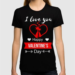 I Love You Happy Valentines Cat Lovers Kitten Cupids Hearts Gift T-shirt