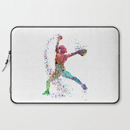Baseball Softball Pitcher Watercolor Print Art Print Girl's Softball Painting Laptop Sleeve