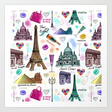 Voyage à Paris (Watercolor) Art Print