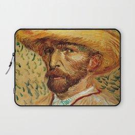 Van Gogh, Self-Portrait with Straw Hat, – Van Gogh,Vincent Van Gogh,impressionist,post-impressionism Laptop Sleeve