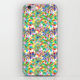 Rainbow Pom Pom Mums in White iPhone Skin