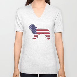 "Newfoundland Dog ""American Flag"" Unisex V-Neck"