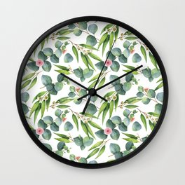 Bamboo and eucaliptus pattern Wall Clock