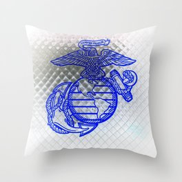 Marine Corps Semper Fidelis Eagle Globe Anchor Blue & White Throw Pillow