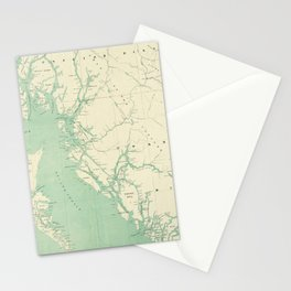 Vintage Map of British Columbia (1893) Stationery Cards