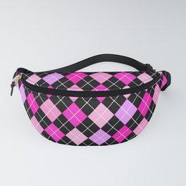Pink Lavender Black Argyle Fanny Pack