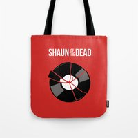 shaun of the dead Tote Bags featuring Shaun of the Dead - Record by Nick Kemp
